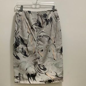 Theory 100% Silk Pencil slit marble skirt size 2